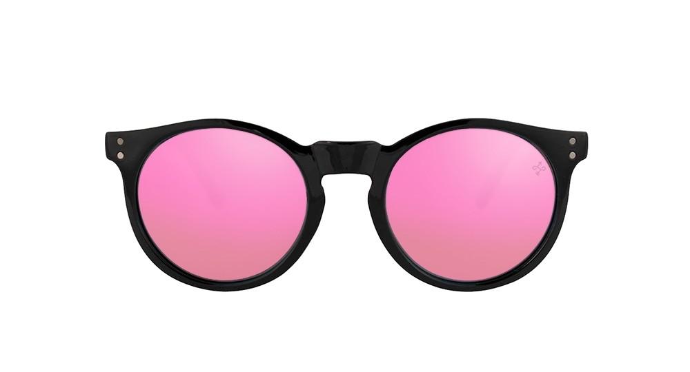 Gafas de sol baratas de calidad Shasta negra lente rosa