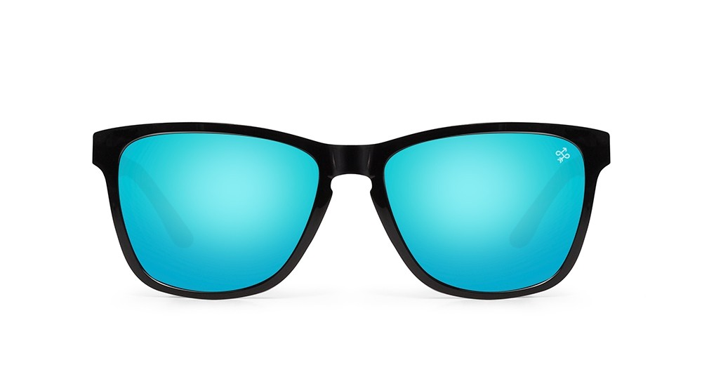 Gafas de sol baratas de calidad Hokana Yuma negra lente azul